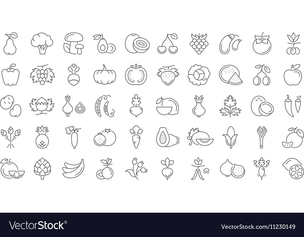 Vegetables and Fruit Line Icons 6 2