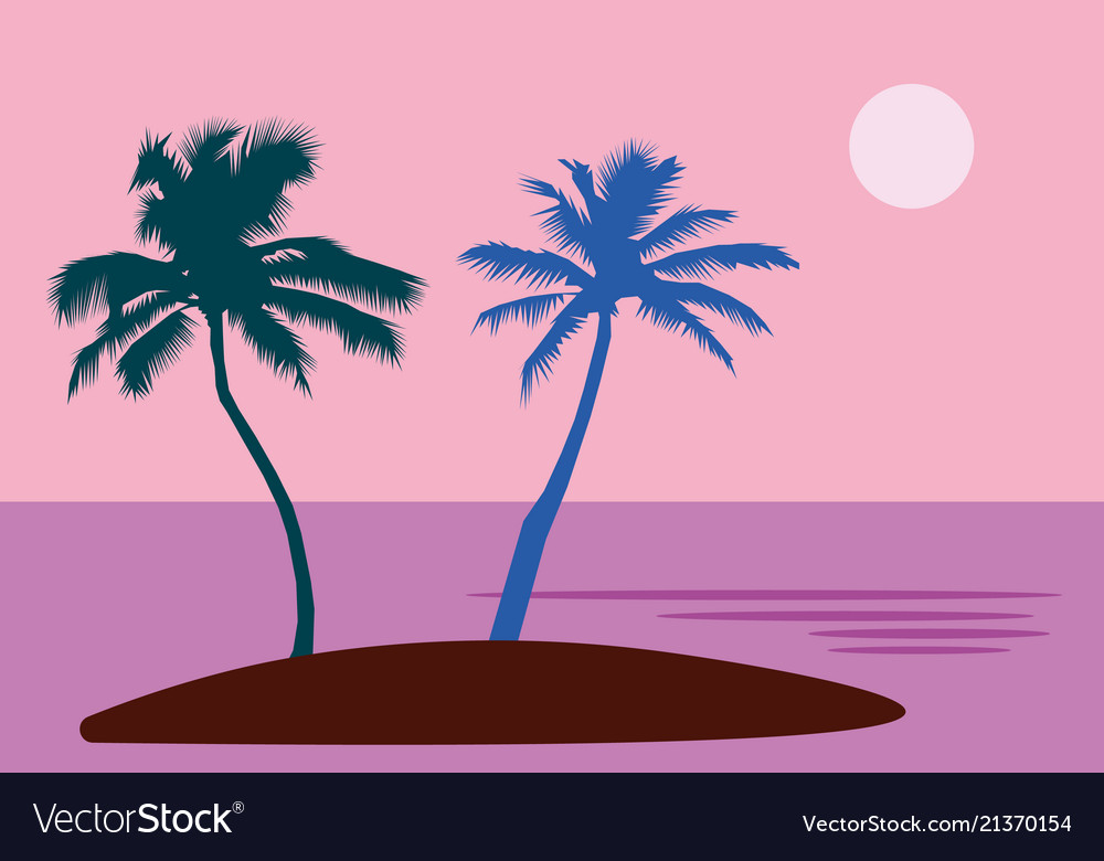 A tropical sea island with palm trees and sun a