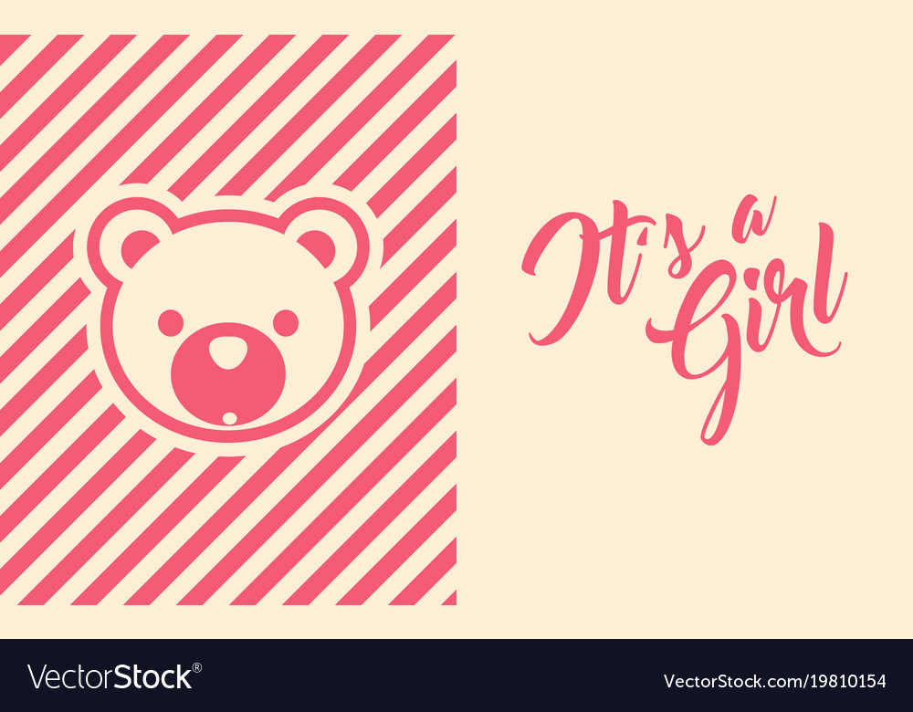 Baby Girl Shower Invite Greeting Card Royalty Free Vector