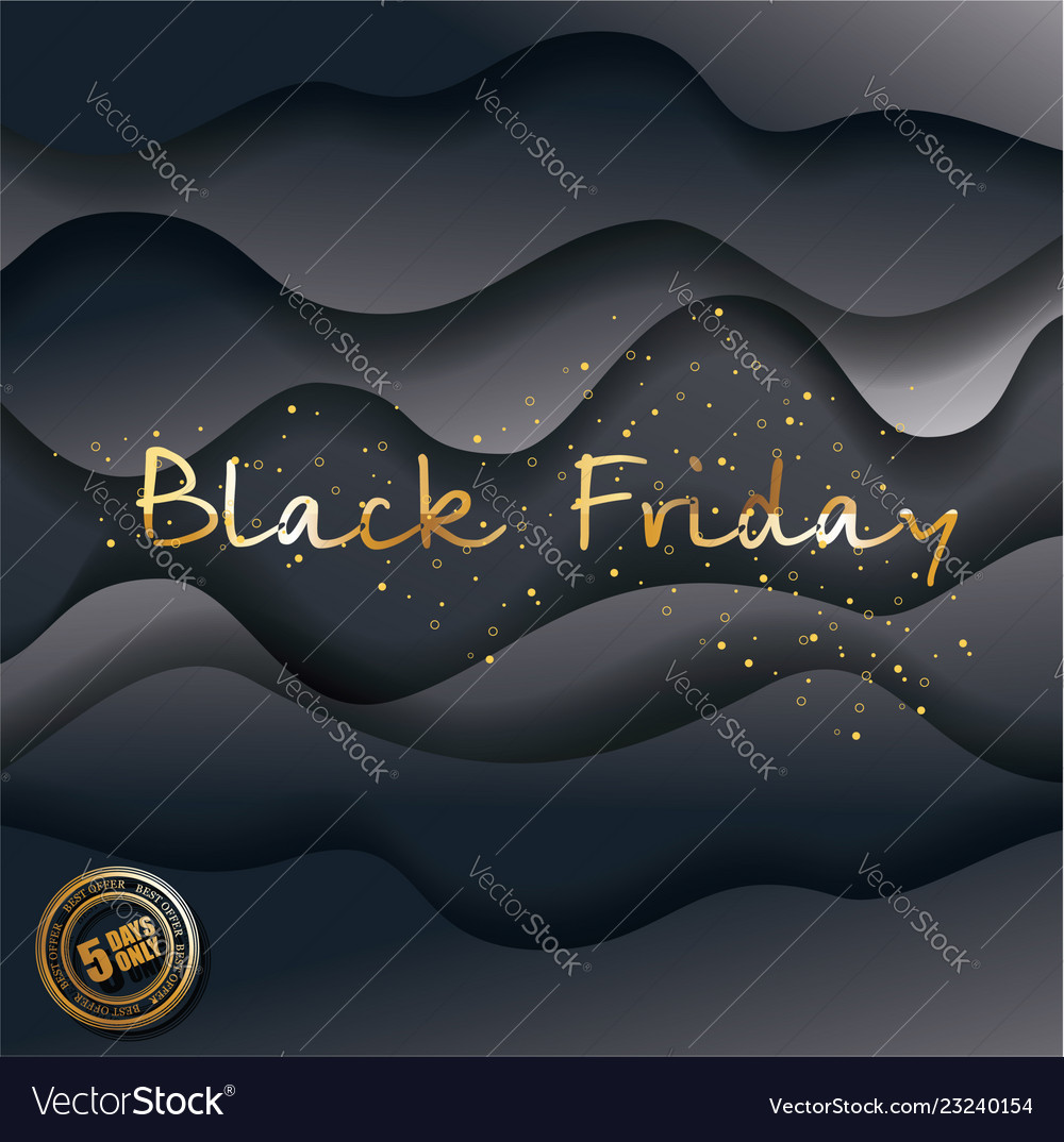 Black friday design with paper waves big