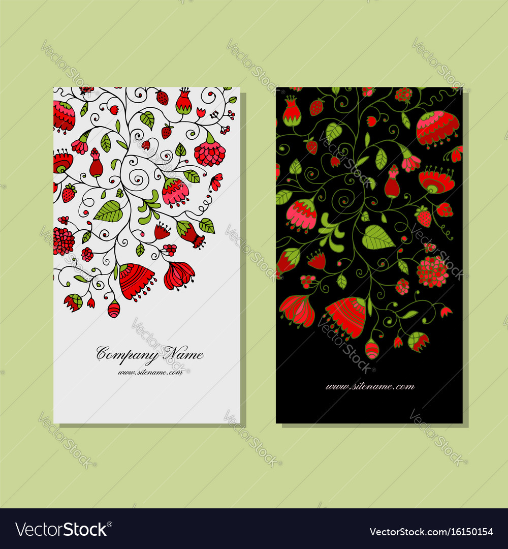 Business cards design floral background royalty free vector business cards design floral background vector image colourmoves