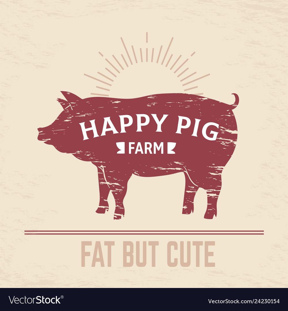 Butcher pig poster vintage bbq pork logo farm