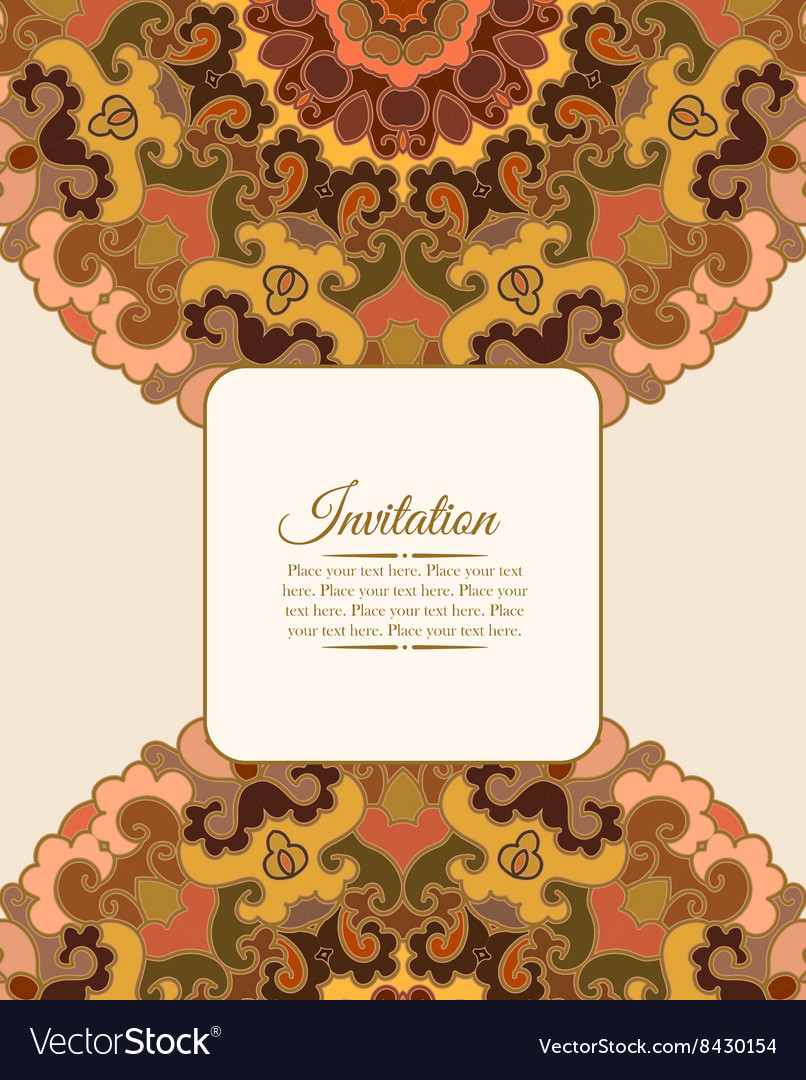 Card or invitation Vintage decorative ornament vector image