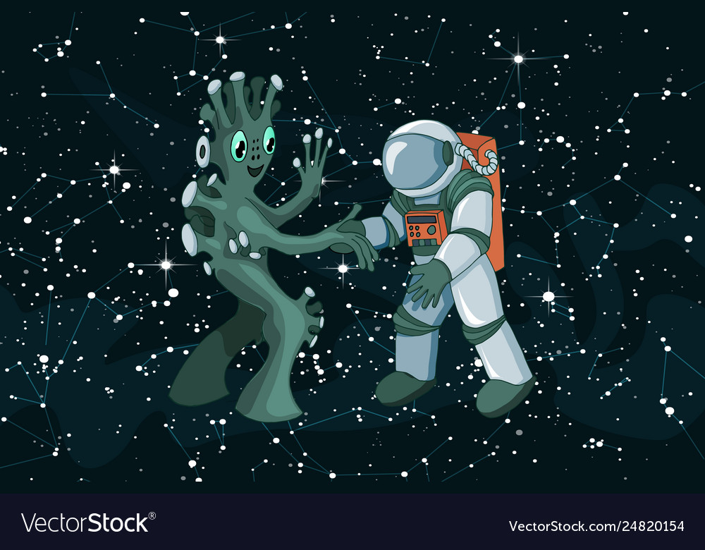Cartoon alien meeting and handshake in space on