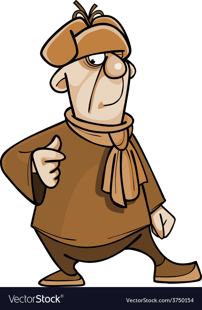 Cartoon Character Guy In A Fur Hat And Scarf Vector Image