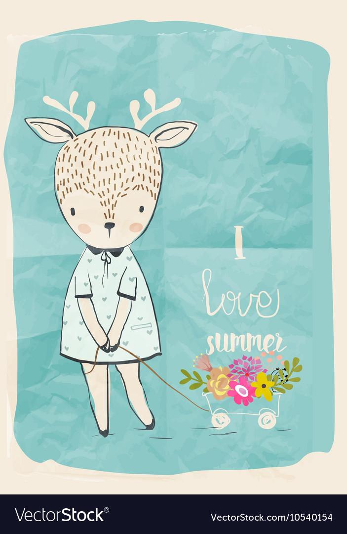 Cute doodle deer vector image
