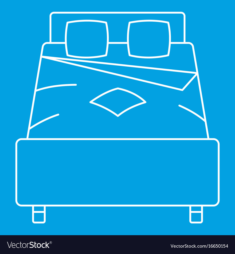 Double bed icon outline style vector image