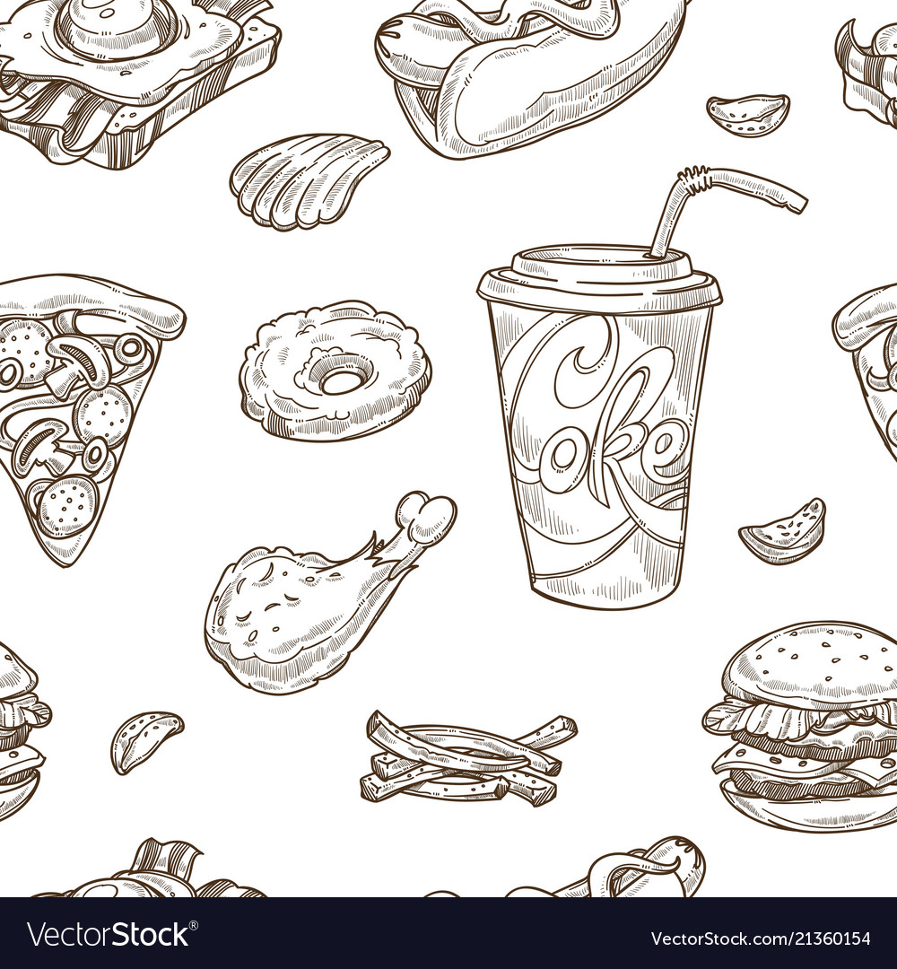 Fast food sketch seamless pattern
