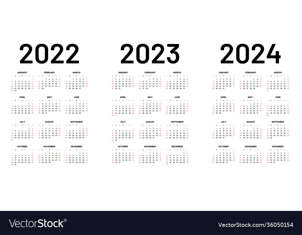 Monthly Calendar 2022 2023.Monthly Calendar For 2022 2023 And 2024 Years Vector Image