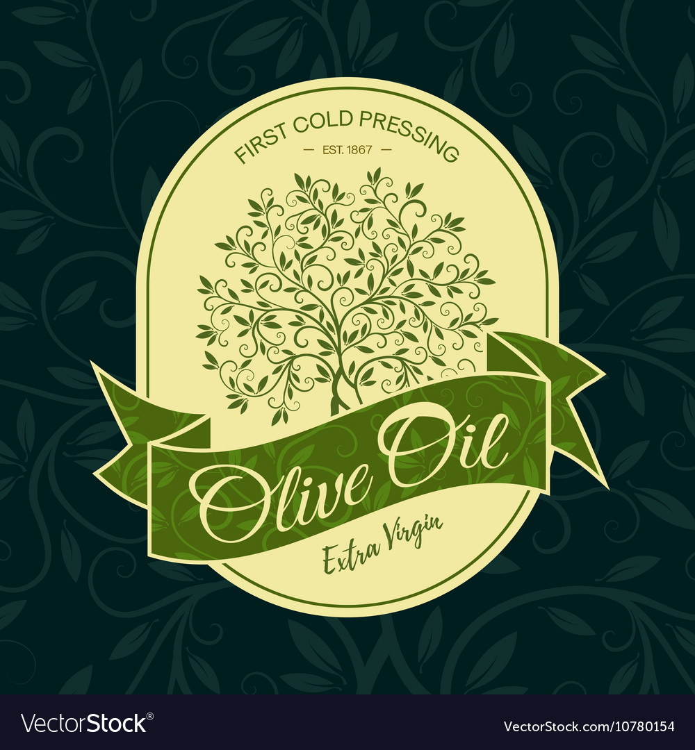 Olive tree sticker logo design concept vector image