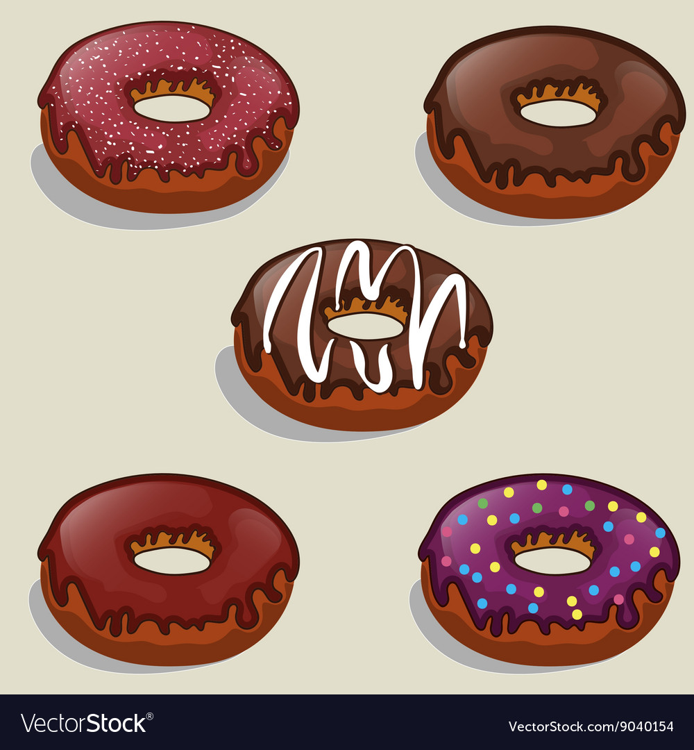 Set of tasty donuts with different