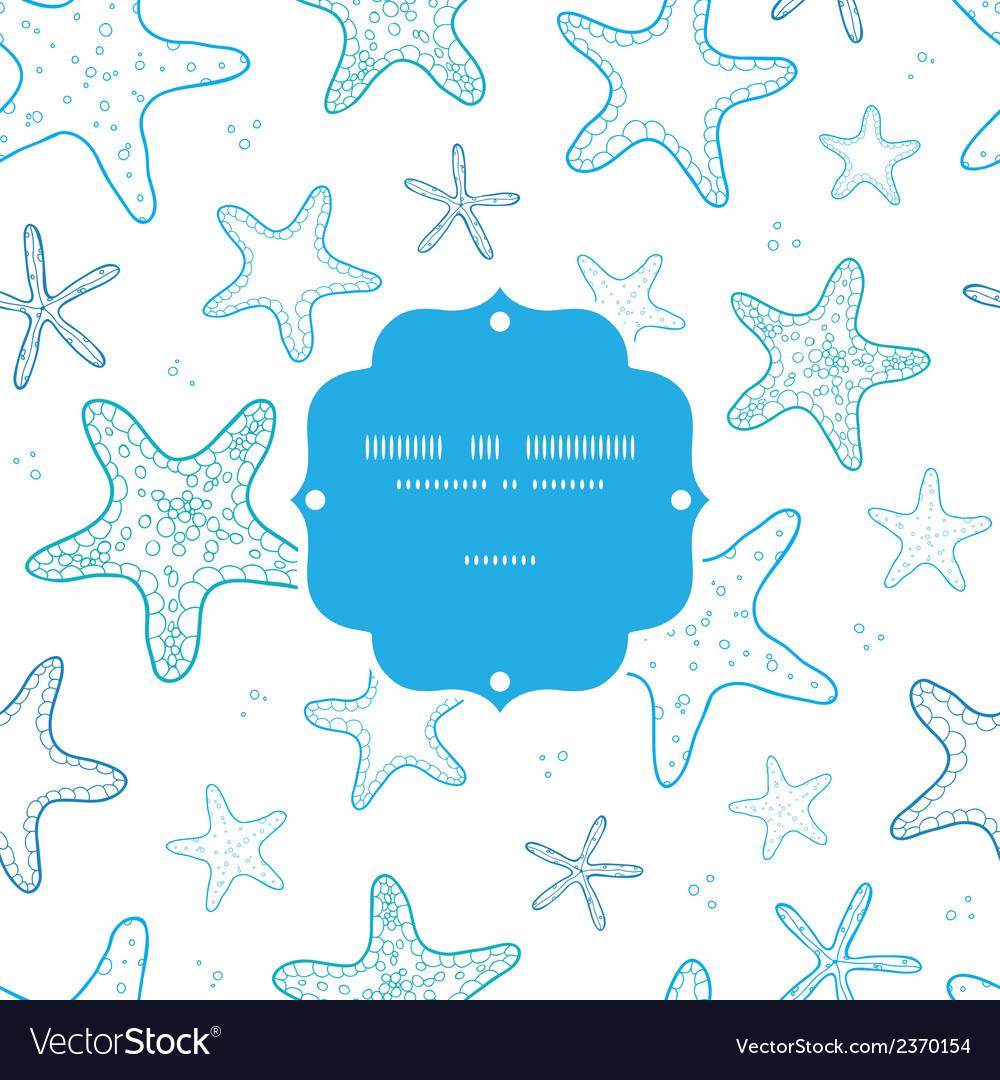 Starfish blue line art frame seamless pattern