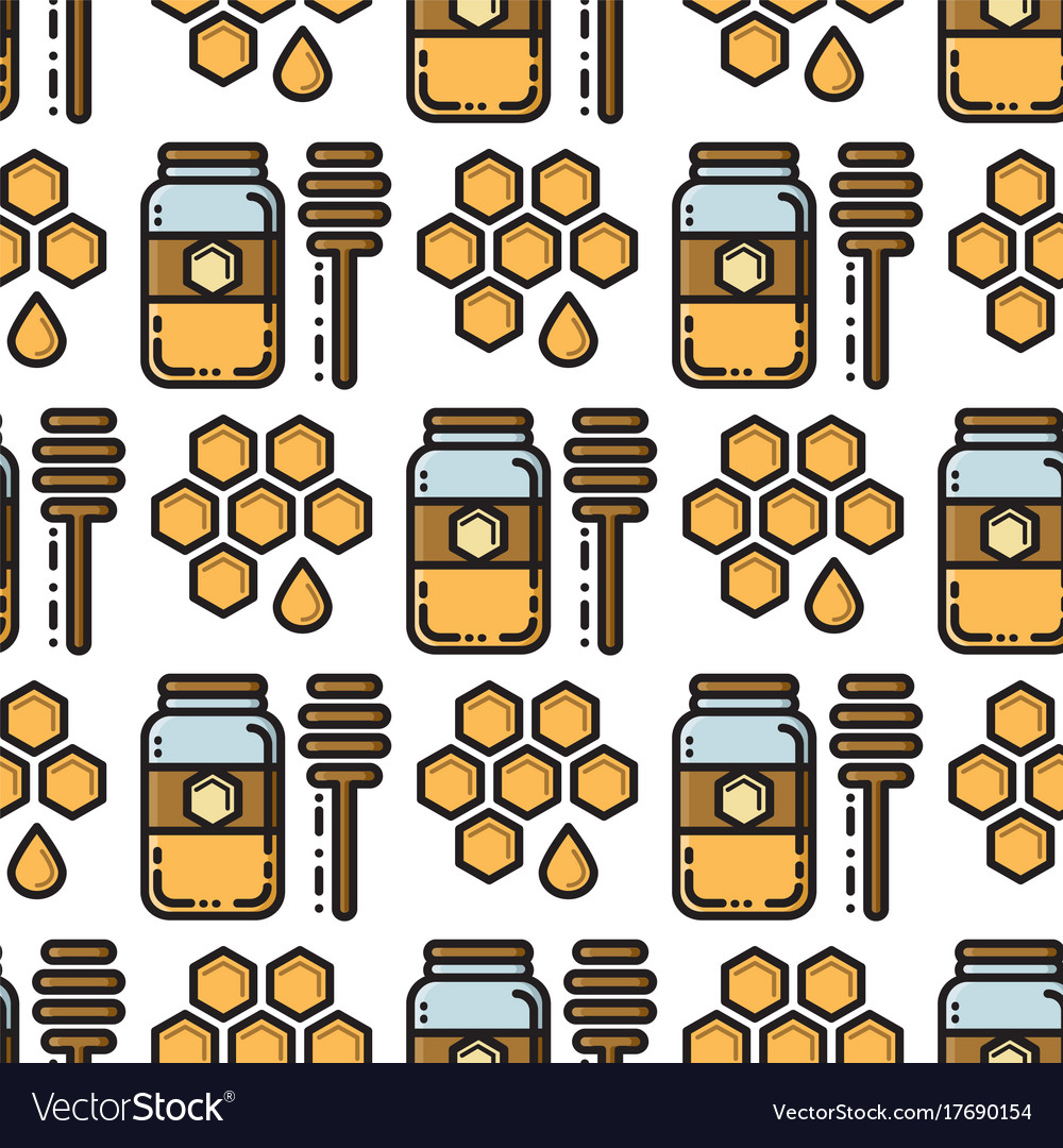 Thin line honey jar and honeycomb seamless pattern vector image