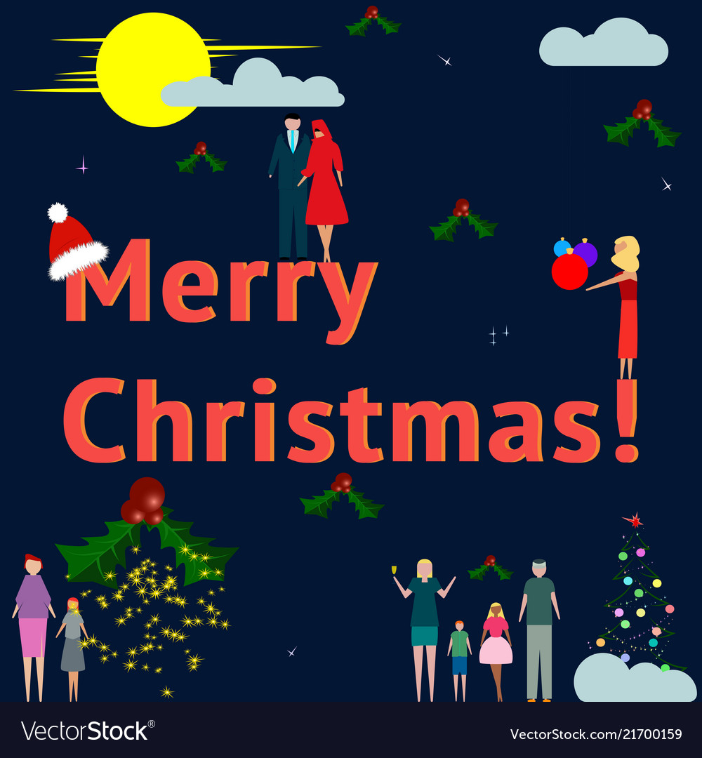 Business and families celebrate merry christmas