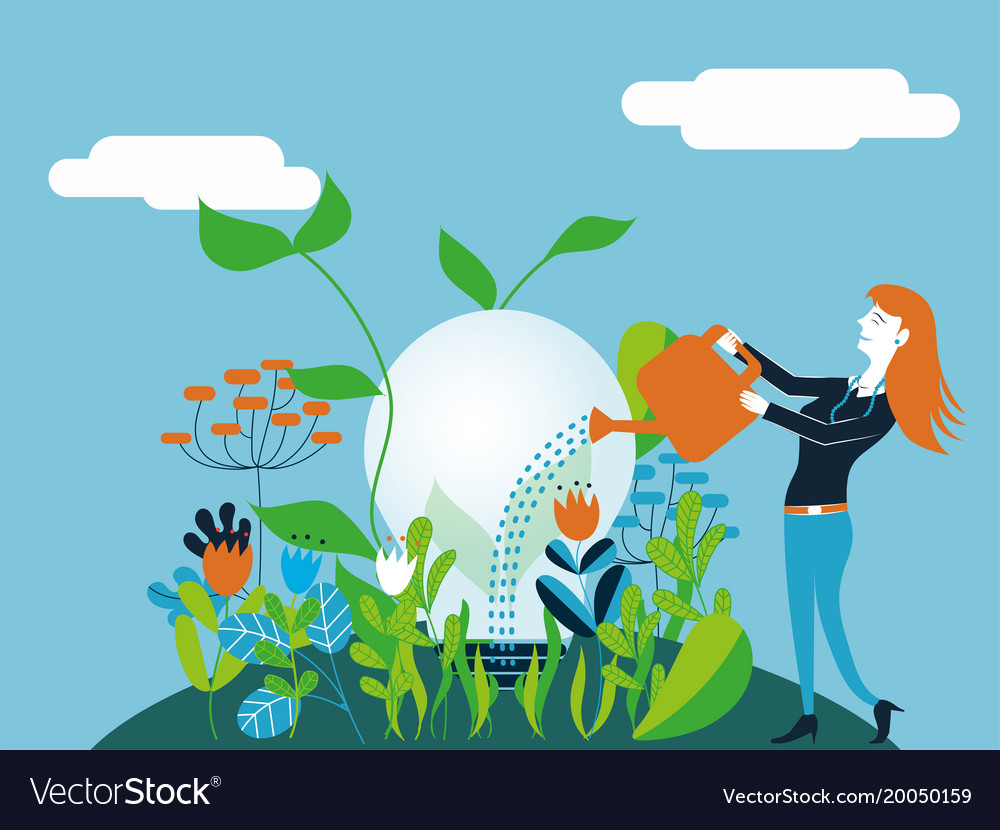 Business woman watering a light bulb - for concept