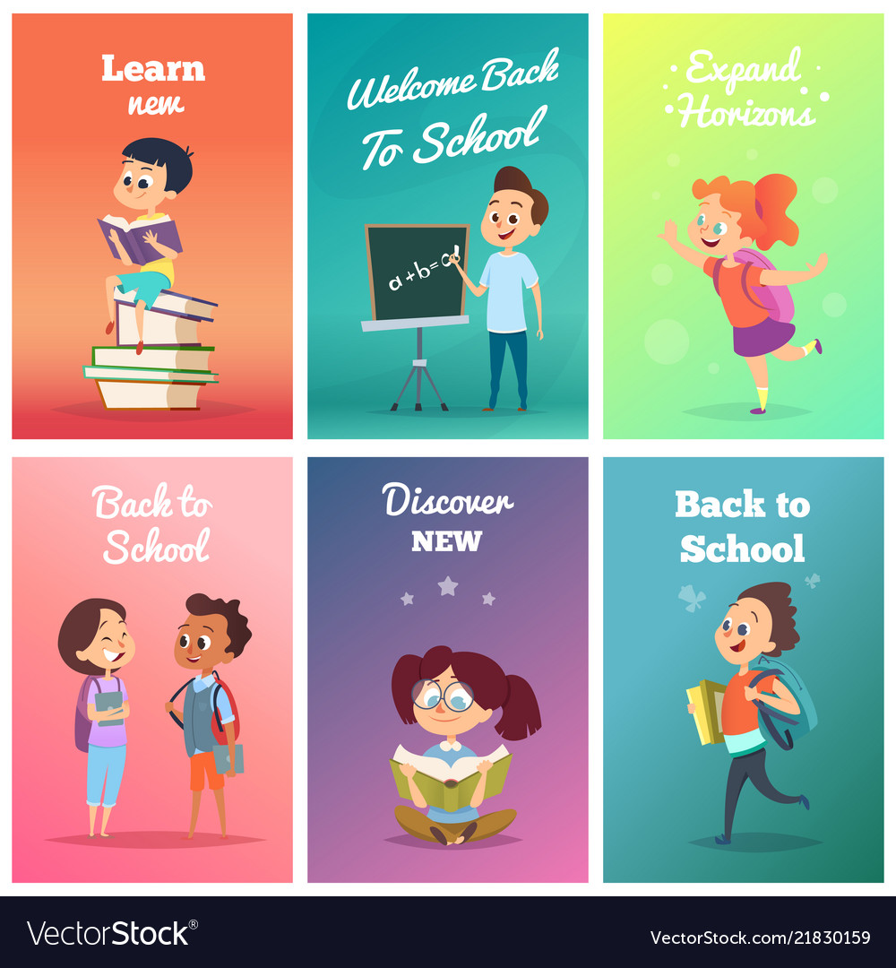 Cards with pupils design template cards