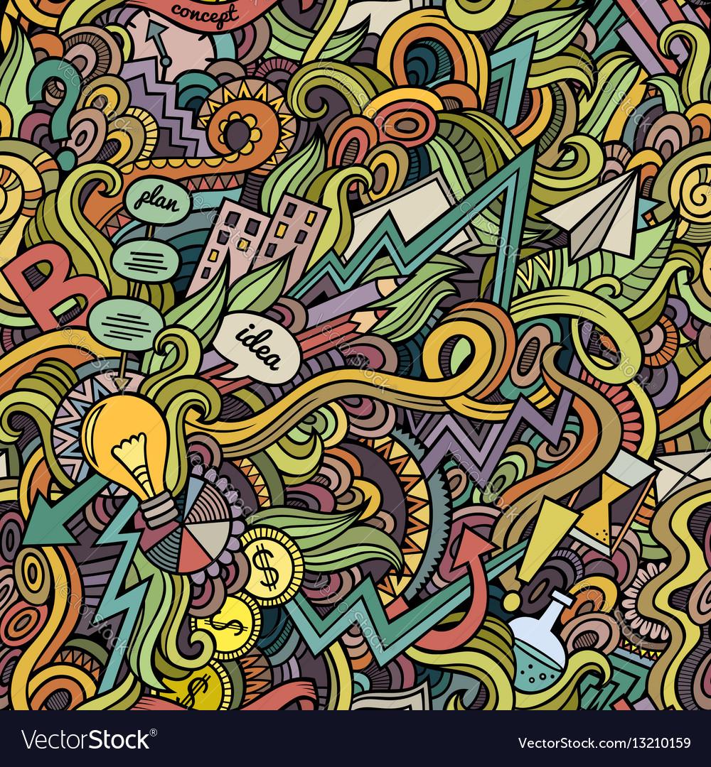 Cartoon cute doodles hand drawn idea seamless