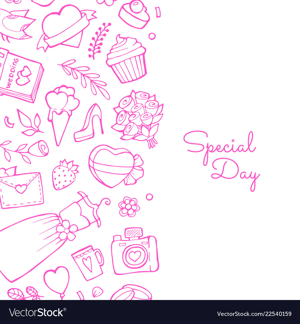 Doodle wedding with place for text