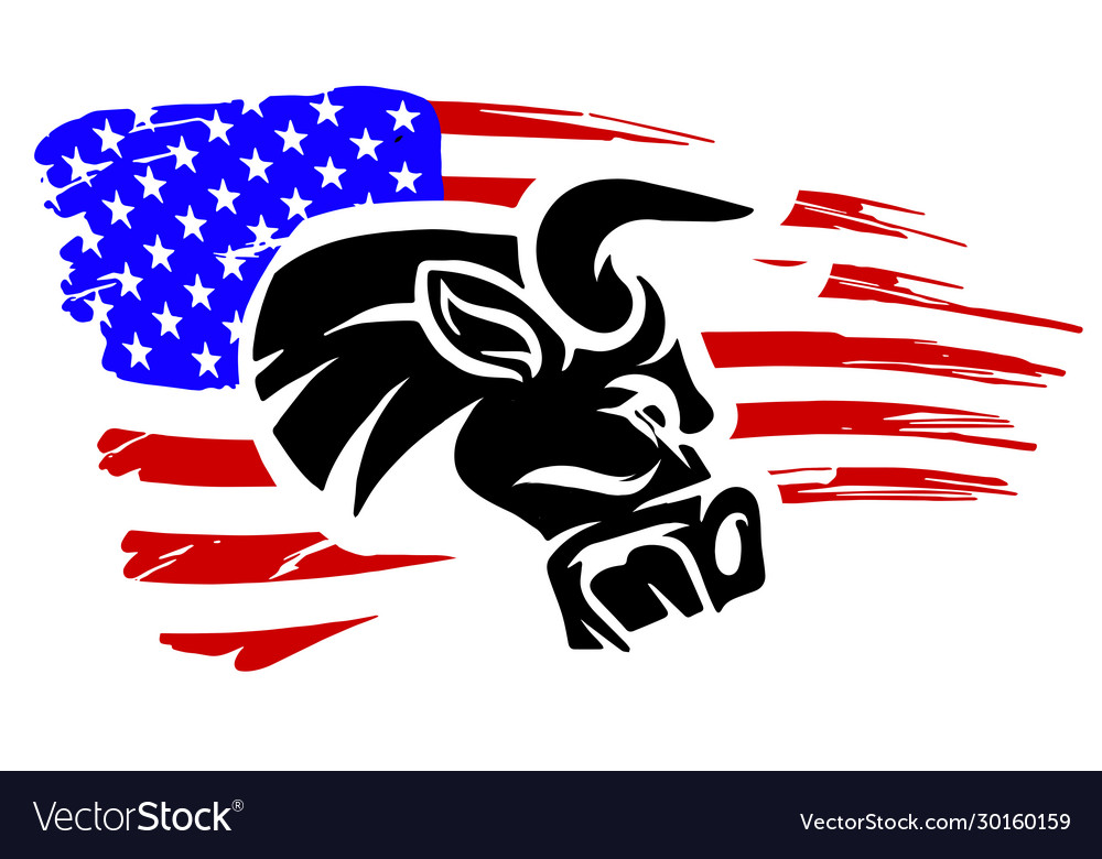 Grunge texture bull head or cow with usa flag