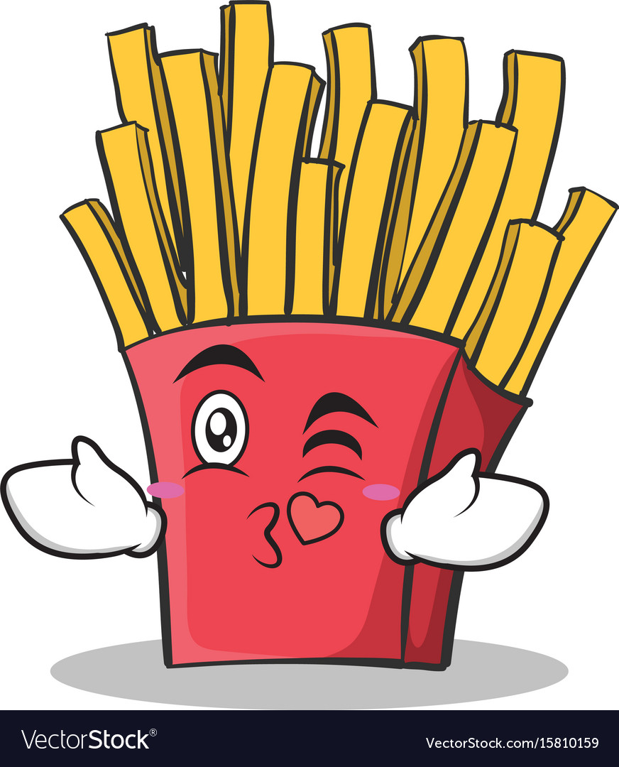 Kissing face french fries cartoon character vector image