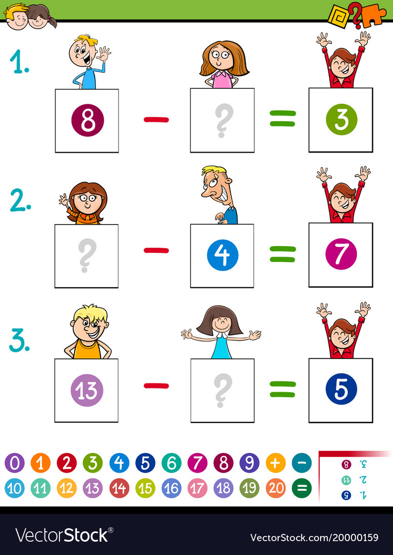 Maths subtraction game with kid characters Vector Image
