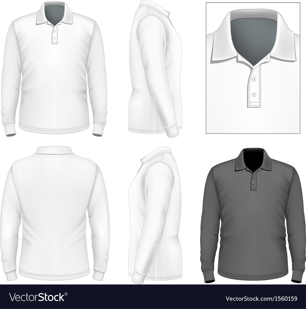 Mens Long Sleeve Poloshirt Design Template Vector Image - Design a shirt template
