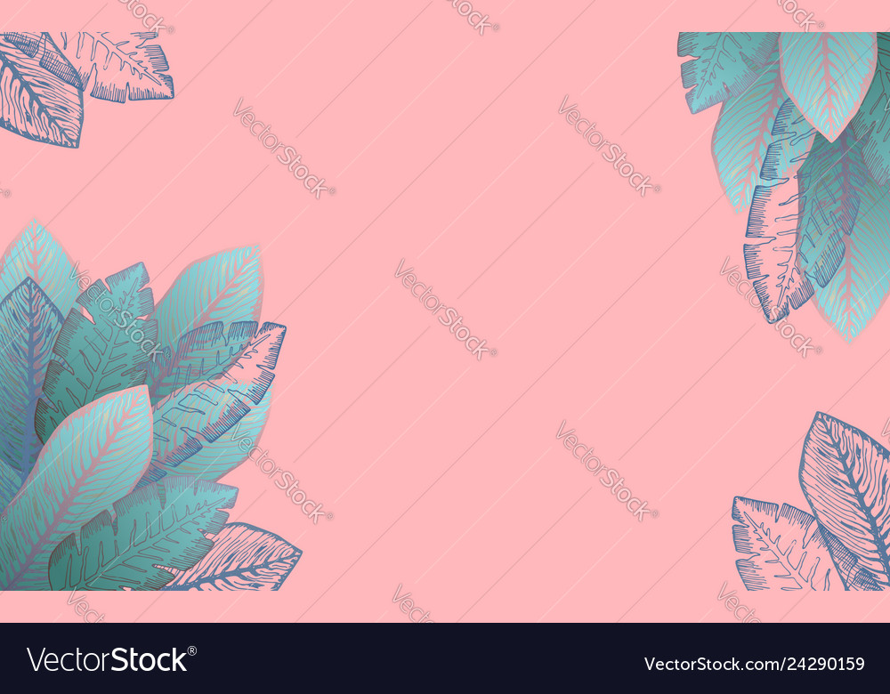 Pastel Pink Frame With Blue Tropical Leaves Vector Image Twitter header won't fit is a series of twitter posts in which users say that they can't fit their favorite image into their twitter header and prove so with a screen shot of the twitter cropping tool over an image. vectorstock