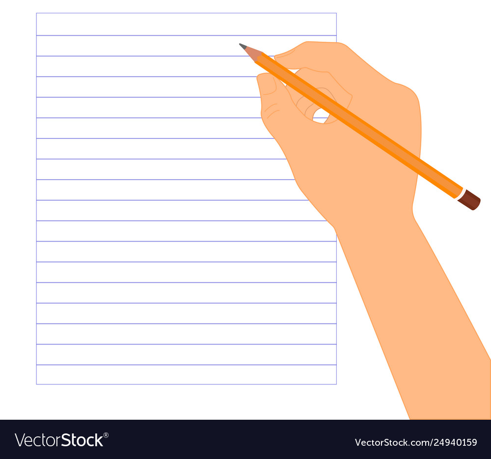 Pencil In Right Hand On Lined Paper Ready To Write