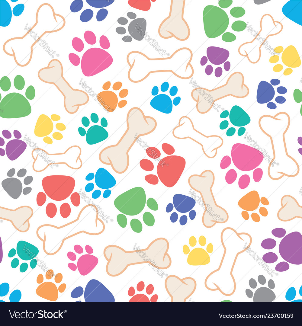 Seamless dog pattern with bone and dogs footprint
