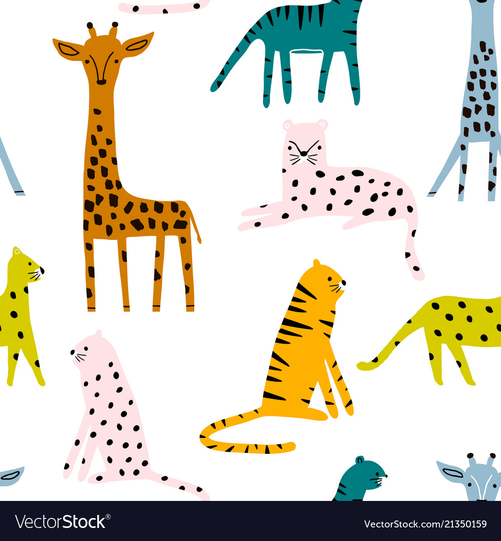 Seamless pattern with leopards tigers leopards