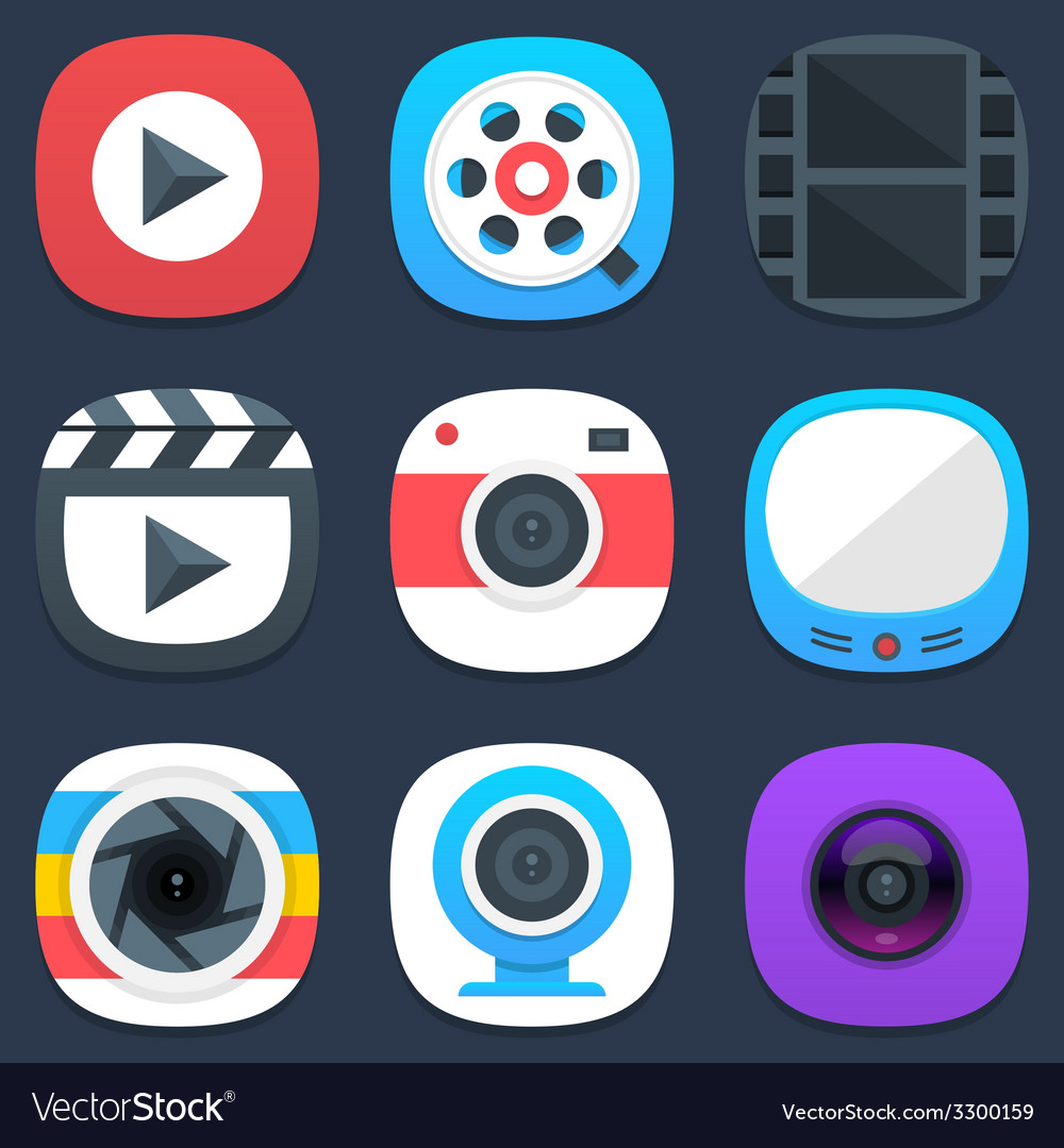 Set of camera photo and video mobile icons in flat vector image