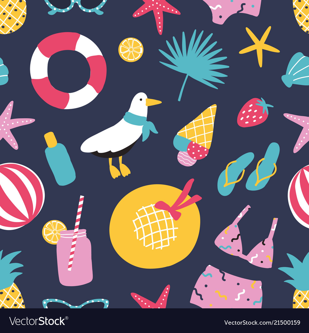 Summer seamless pattern with exotic fruits