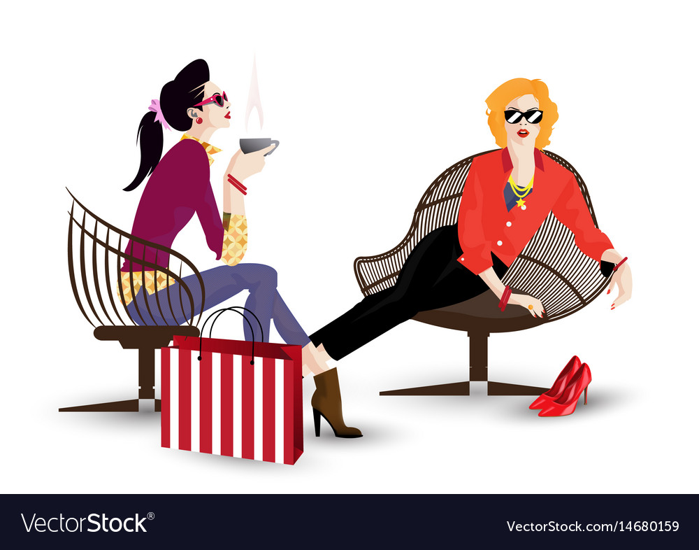 The fashionable girl in vector image