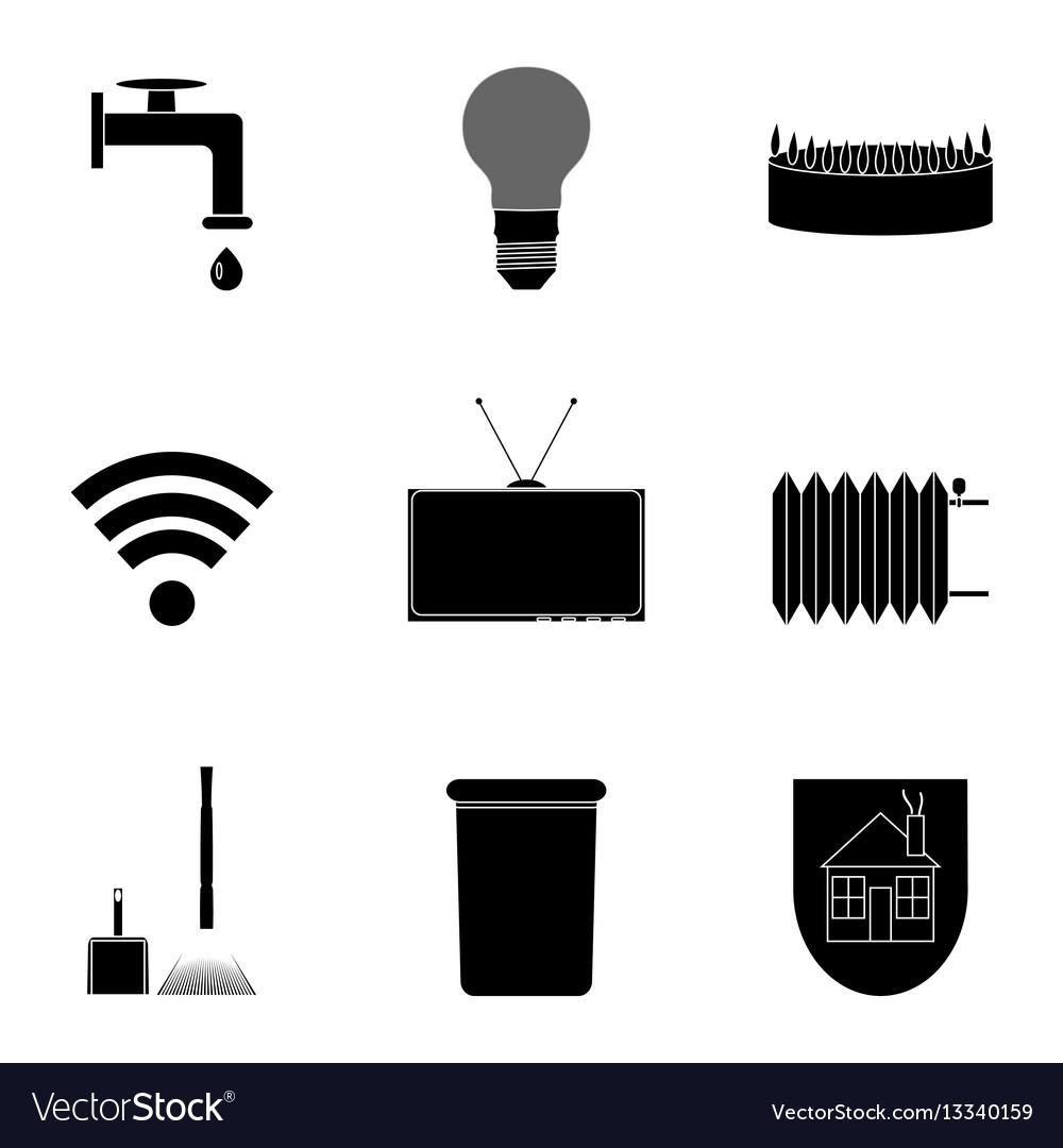 Utilities icon set black silhouette