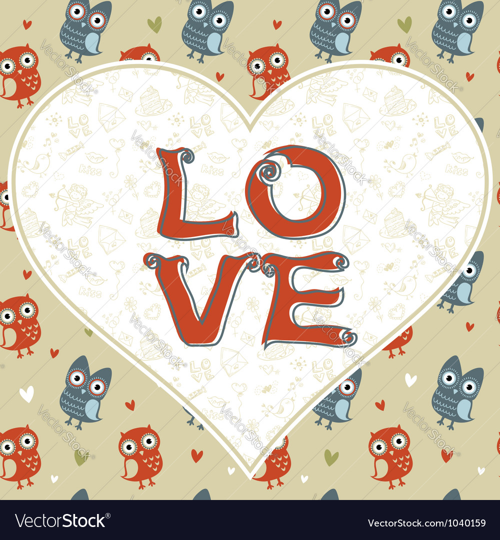 Valentine love card with cute romantic owls