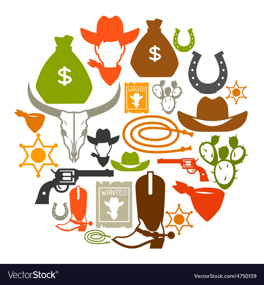 Wild west background with cowboy objects and