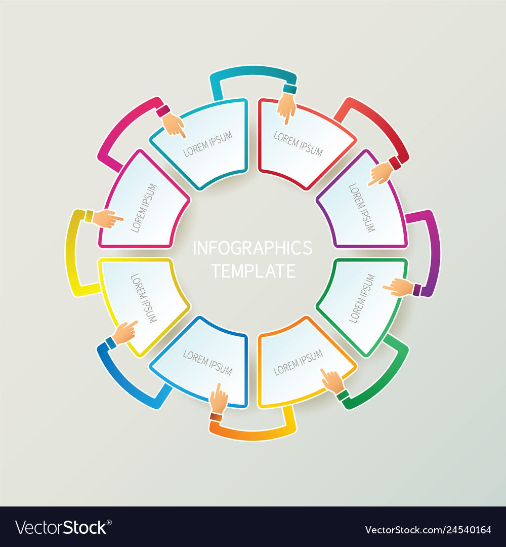 Abstract 8 Steps Infographic Template In 3d Style