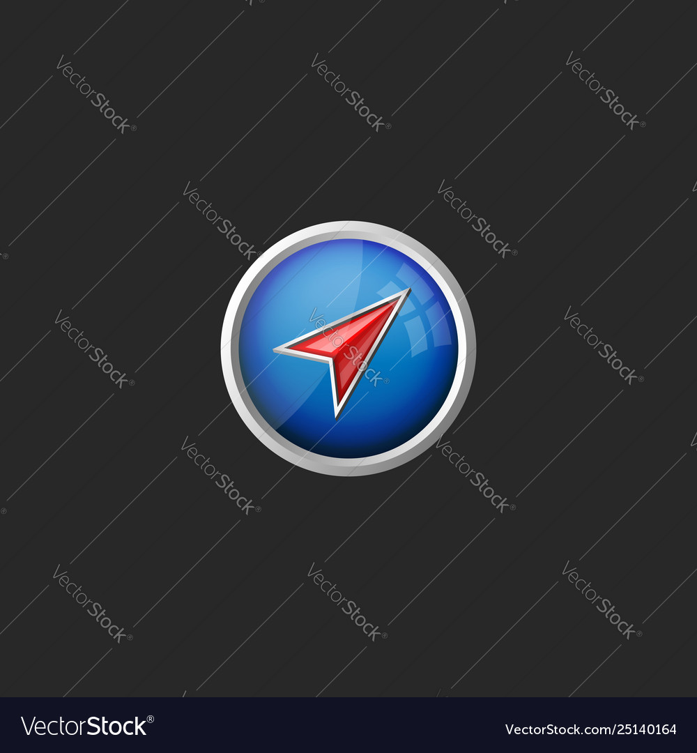 Abstract round button with red arrow direction