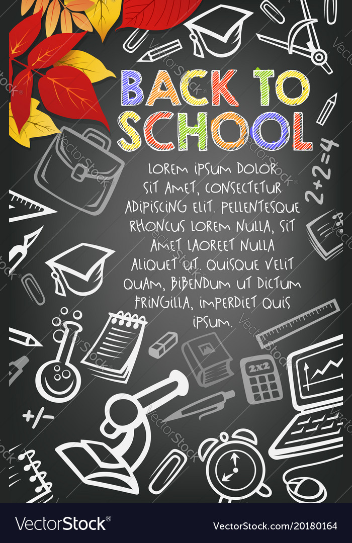 back to school autumn education poster royalty free vector