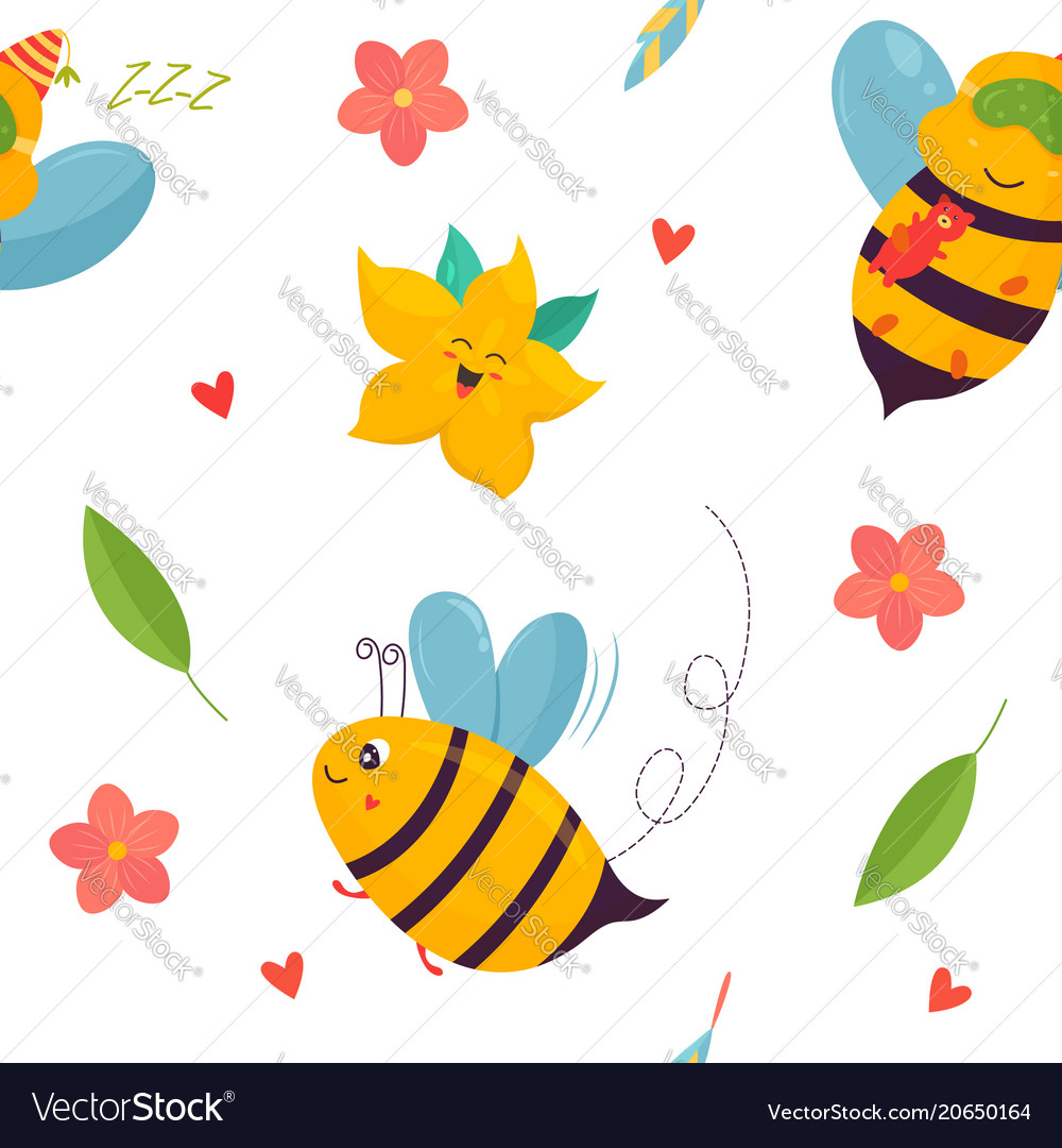Bright pattern with bees carambola and elements vector image