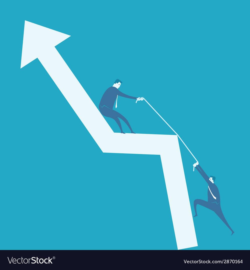 Business man climb positive graph vector image