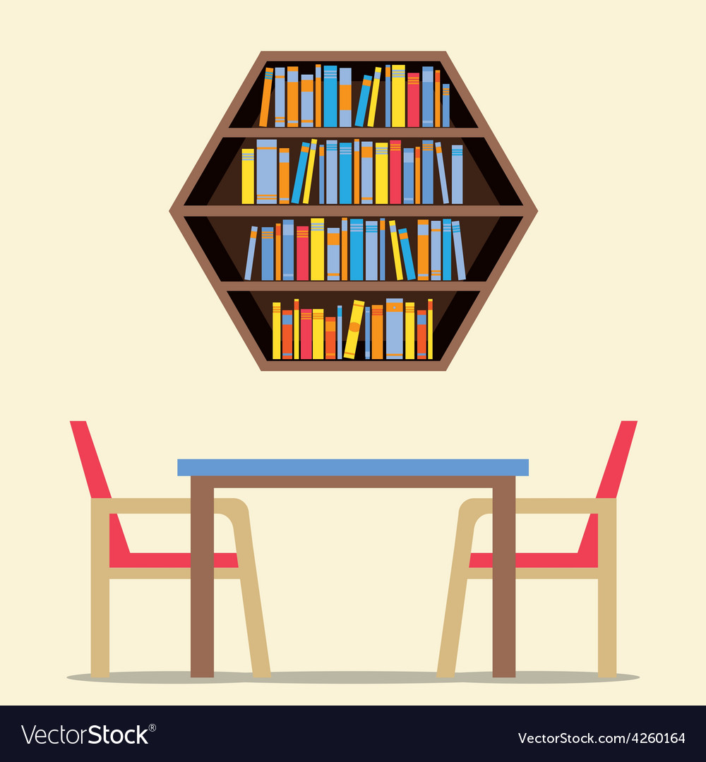 Chairs And Table With Hexagon Bookshelf On Wall