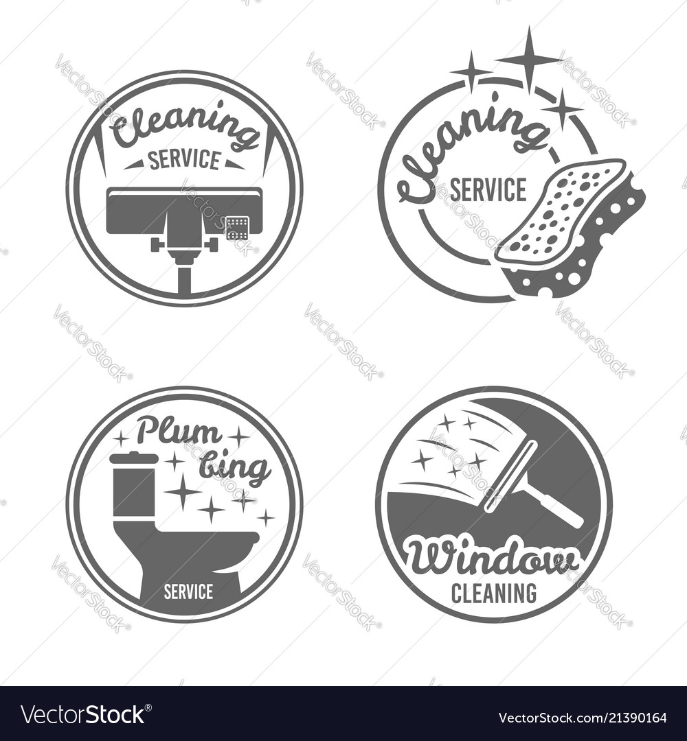 Cleaning service four black round badges