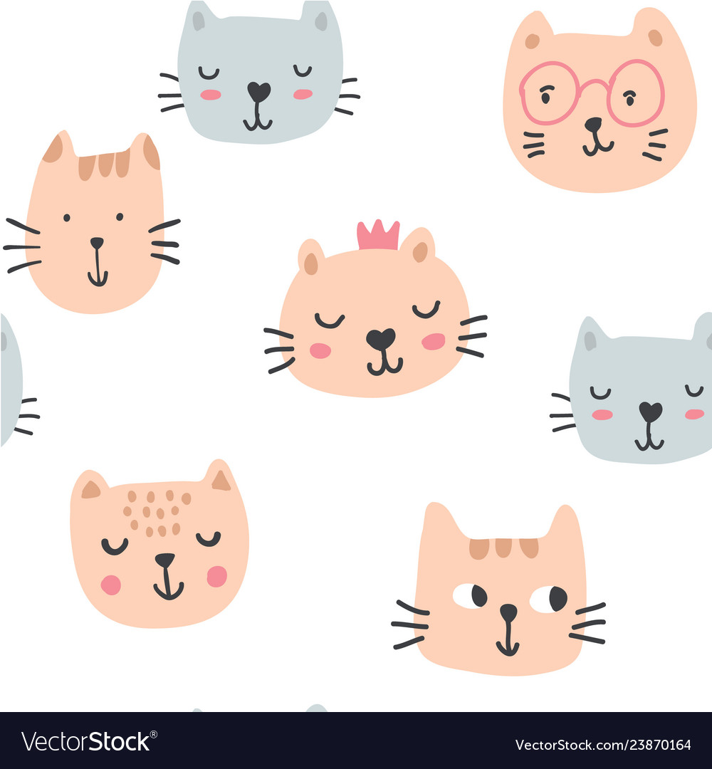 Cute cats in glasses seamless pattern