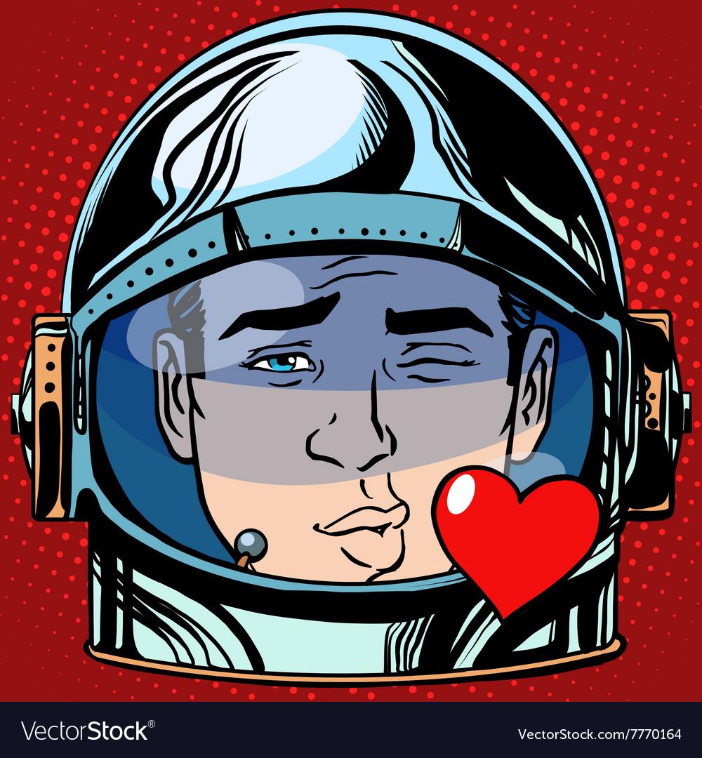 Emoticon kiss love Emoji face man astronaut retro vector image