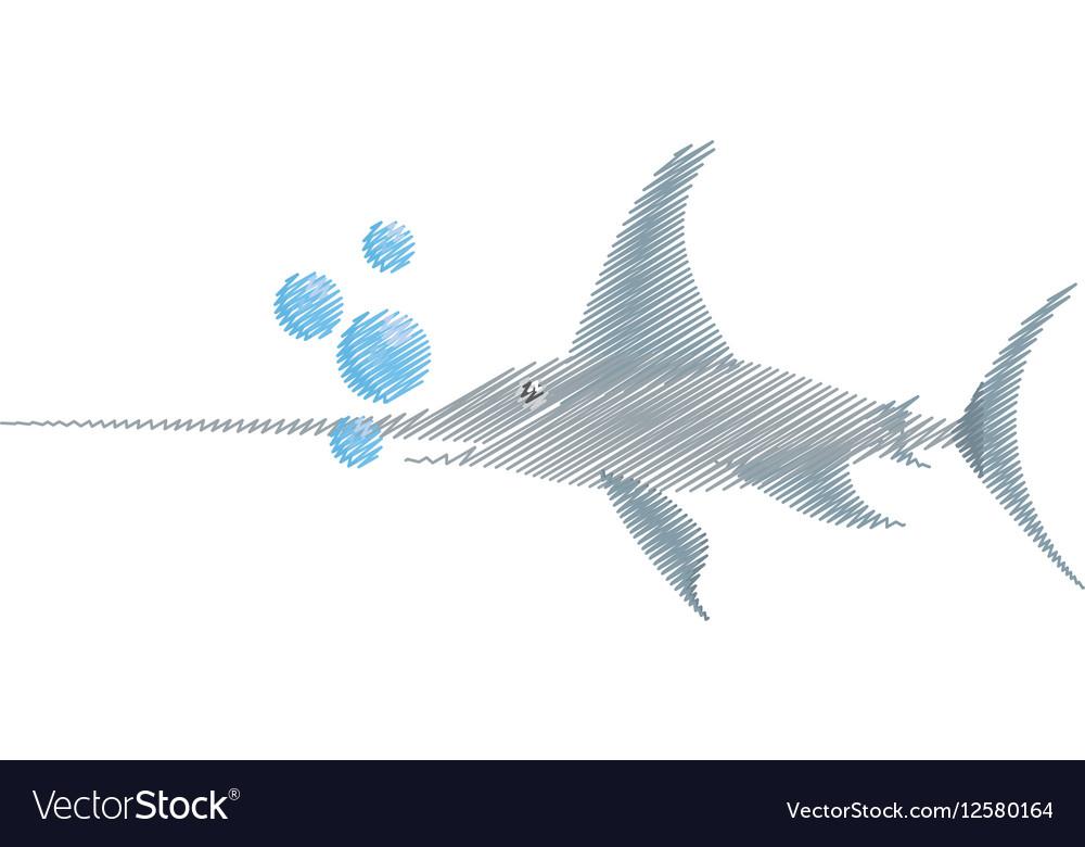 Hand drawing marlin swordfish marine wildlife
