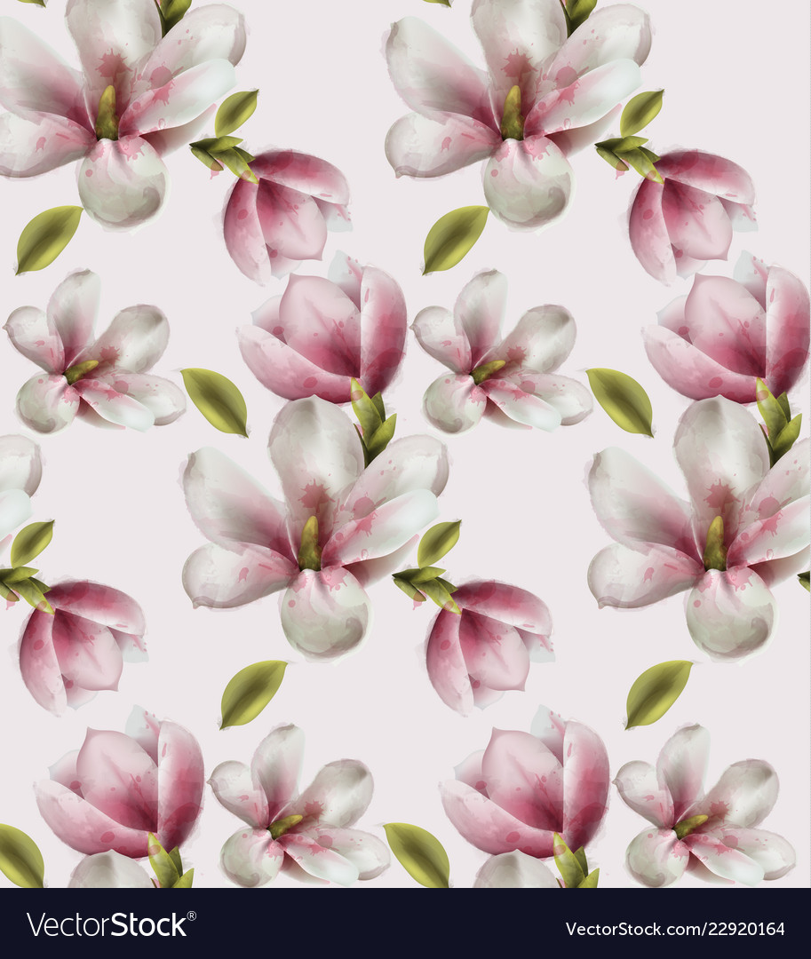 Magnolia pattern watercolor flowers decor