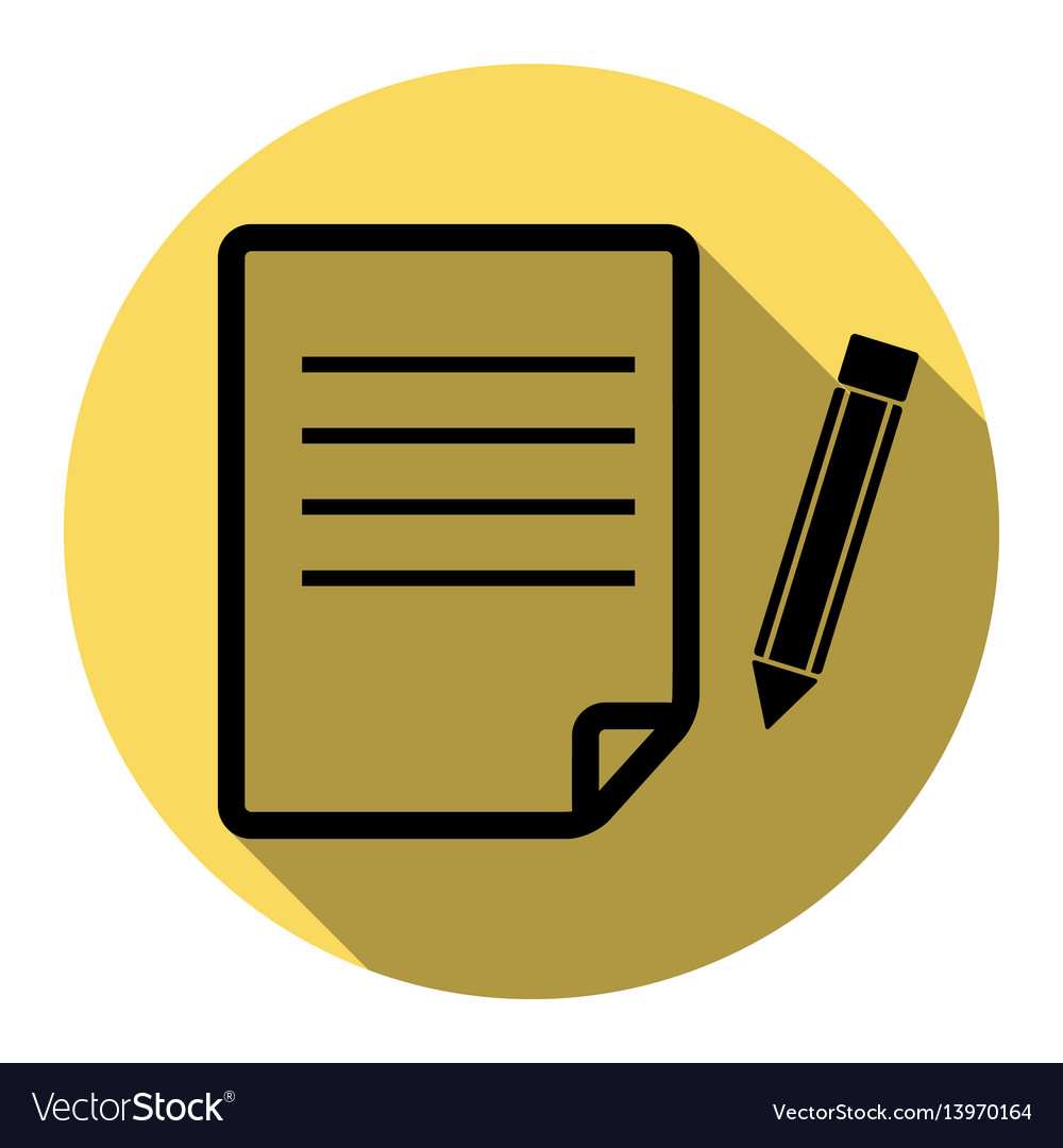 Paper and pencil sign flat black icon vector image