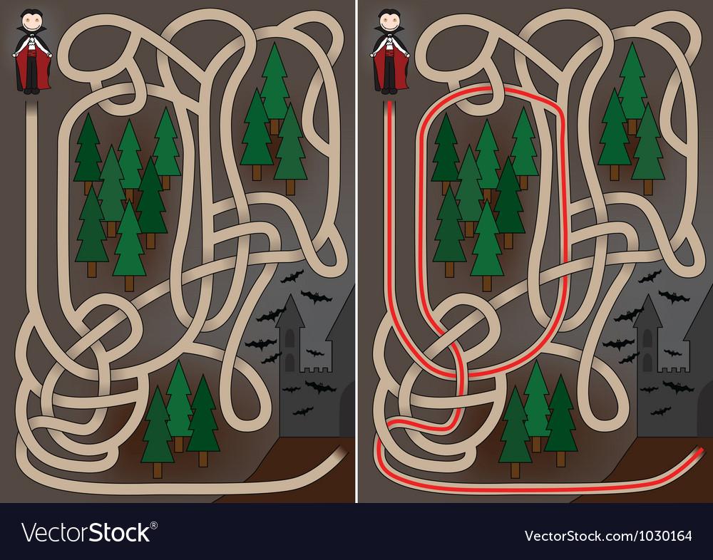 Vampire maze vector image