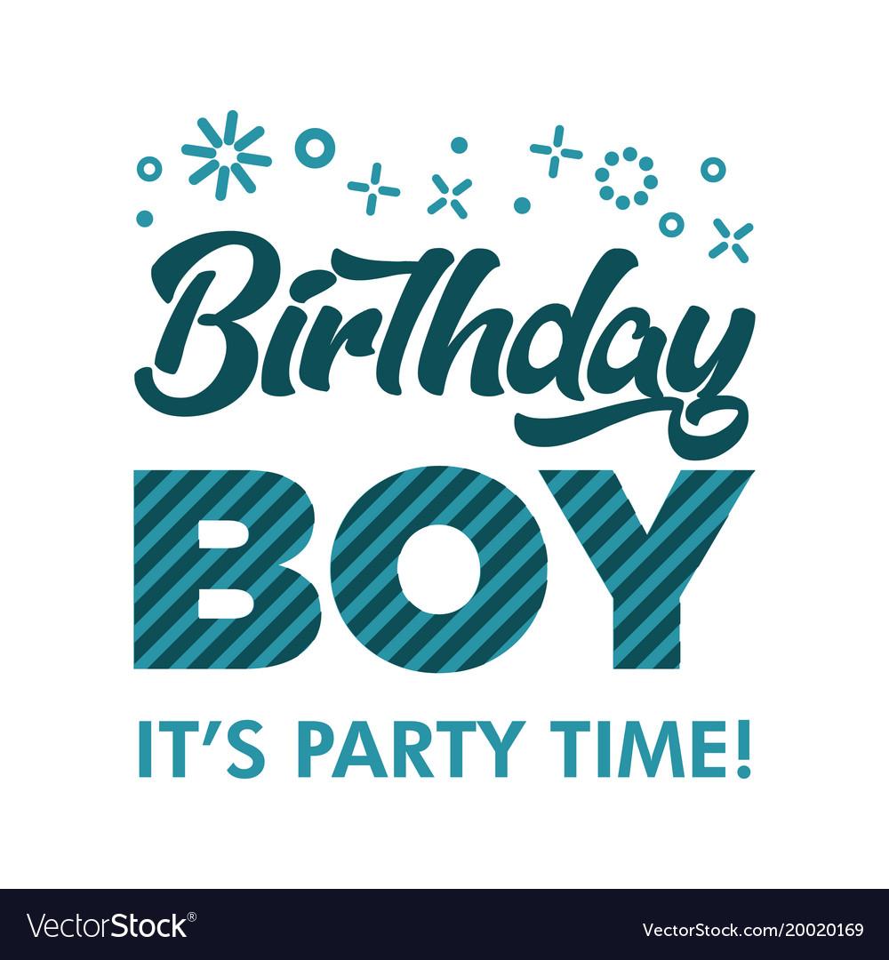Birthday boy invitation greeting card Royalty Free Vector
